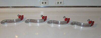 4 Vtg Red Luster Chrome Cabinet Hardware Pull Handles -Cupboard- Art Deco Retro
