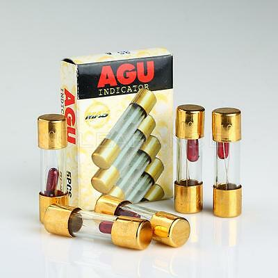 5 Pack Agu Fuse 10A Amp Gold Plated 5 pack agu fuse 10a amp gold plated glass with blown fuse led light