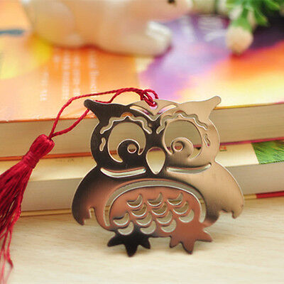 Eagle Owl Creative Exquisite Metal Bookmark With Ribbon Box Gift Office School
