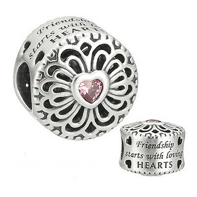 FRIENDSHIP Charm 925 Solid Sterling Silver Pink Heart Words Message Bead