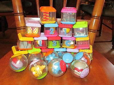 Lot of 24 Fisher Price Peek-a-Boo Blocks Circus Theme Balloons/Alphabet, Numbers