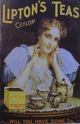 "Lipton""s TeaBristol Wares Ceylon Will You Have Some Tin Sign  /511"