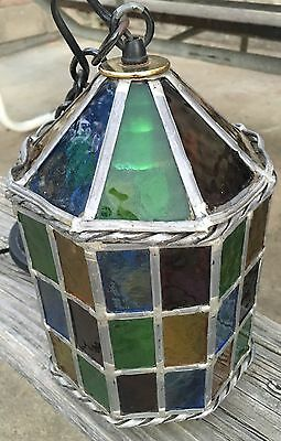 Antique Multi Color Stained Glass Leaded  Lamp Light  Fixture  Great Condition
