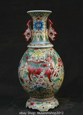 "10"" Marked Chinese WuCai Porcelain Kylin Dragon Beast Handle Flowers Bottle Vase"