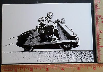 Vintage Salsbury Scooter postcard collectible old motorbike advertising card ad