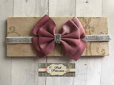 "Baby Headband, 3 1/2"" Mauve Grosgrain Double Stacked Bow Silver Glitter Headband"