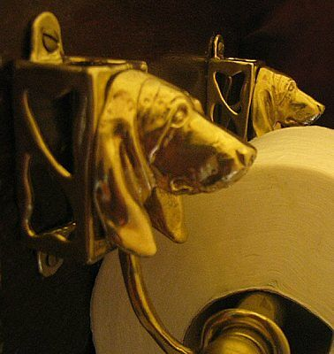 BASSET HOUND Bronze Toilet Paper Holder OR Paper Towel Holder!