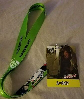 New York Comic Con NYCC 2015 3-Day Pass badge Ticket Daryl Walking Dead Lanyard