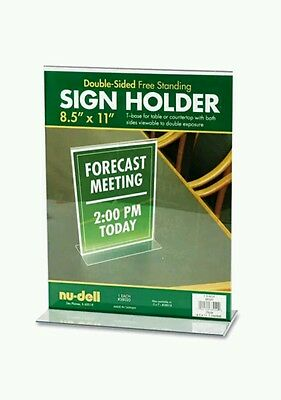 NUDELL Sign Holder Double-Sided T-Base 8 1/2 x 11 free standing acrylic