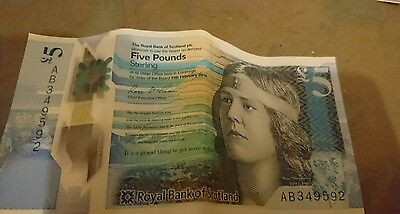 Very Rare Royal Bank of Scotland AB Polymer Five Pound Note