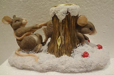 Charming Tails - Mouse In A Tree Hole - Candle Holder    I N Original Box