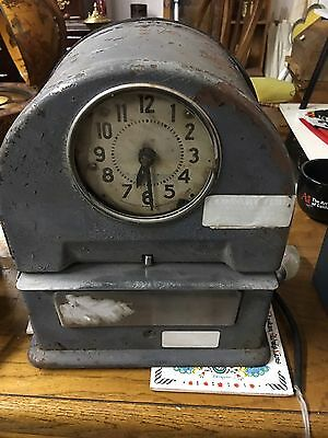 Vintage Grey Metal Industrial Punch In/Out Time Recorder Clock