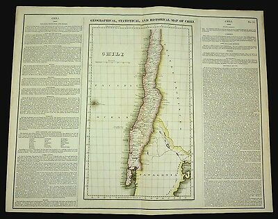 ORIGINAL Carey & Lea 1822 MAP of CHILI (Chile) - Antique - Hand Colored - 18x24""