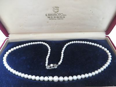 """Vintage Mikimoto 18"""" Sterling Graduated 7.5mm-3.5mm Pearl Strand Necklace"""