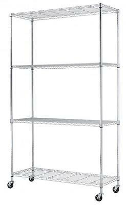 Chrome 48''X82''X18'' Wire Shelving Rack 4 Tier Adjustable Commercial Shelf 774