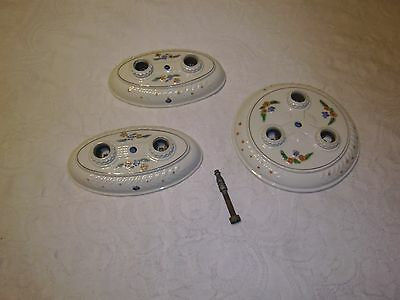 Antique Porcelier ceiling light fixture set of 3 porcelain with wiring sockets