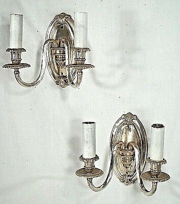 PAIR OF EARLY 20th CENTURY VICTORIAN ART NOUVEAU DOUBLE ARM SILVER PLATE SCONCES