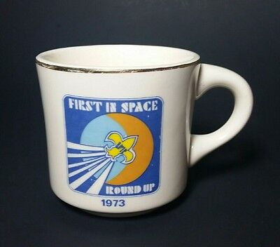Boy Scout Mug First in Space Round Up 1973 BSA Free Shipping