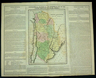 ORIGINAL Carey & Lea 1822 MAP of United Provinces of SOUTH AMERICA 18x24 Antique