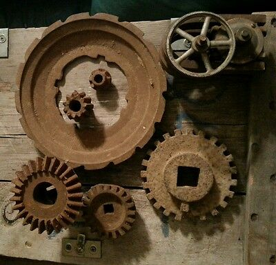 lot of gears steampunk repurpose farmhouse country industrial decor cast iron