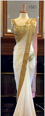 Indian Designer Party Wear Saree Georgette Border Work Plain White Saree Sari