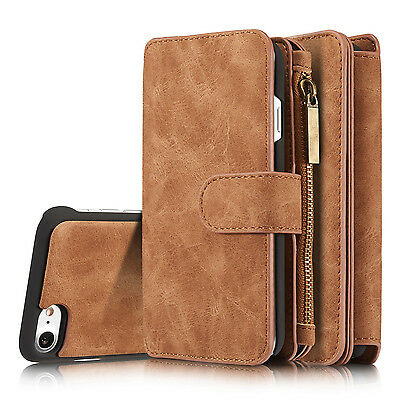 Flip Leather Removable Wallet Case Card Pocket Dual Cover Multifunction Zipper
