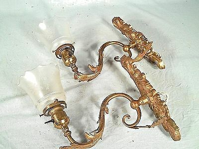 A Pair Of Victorian Art Nouveau Rococo Brass Sconces With Etched Glass Shades