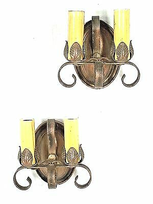PAIR OF EARLY 20th CENTURY DOUBLE SCROLLED ARM OVAL BACK SCONCES