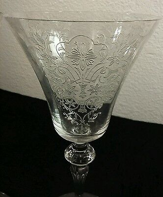 Antique Tiffin Glass Floral Pattern Crystal Tall Wine Glass
