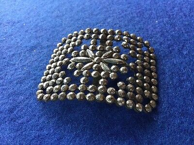 French Antique Victorian Filigree Cut Metal Sash Belt Buckle