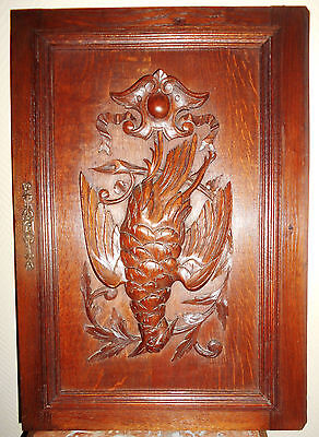 French Black Forest Carved Wood Panel Door - Hunting Trophy Bird Plaque