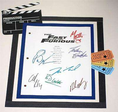 The Fast And The Furious Autographed Signed Script Paul Walker  Vin Diesel Rpt