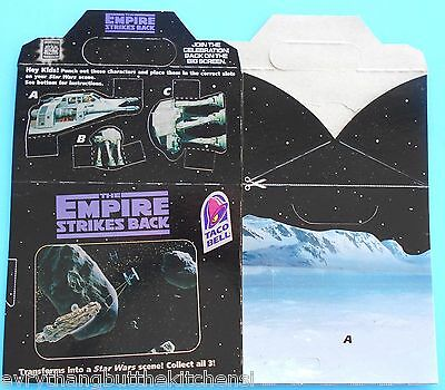 1996 Taco Bell Star Wars Empire Strikes Back Kids Meal Box Flat New Clean Unused