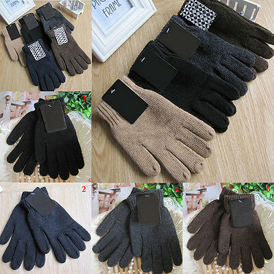 Mens Thermal Gloves Black Gloves Wool Knitted Winter Gloves Soft Warm Mittens BN