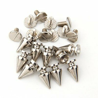 10 Set Silver Screw Bullet Rivet Spike Studs Spots DIY Rock Punk 7x13mm SH