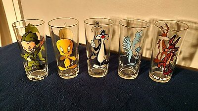 Looney Tunes Set of 5 1973 Pepsi Collector Series Classic Warner Bros Glasses