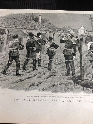 M20 Ephemera 1885 Picture Bulgarian Troops Defend Sofia  - War Serbia V Bulgaria