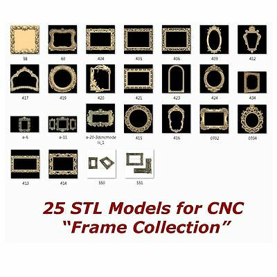 "25 3d STL Models - "" Frame Collection "" for CNC relief artcam 3d printer aspire"