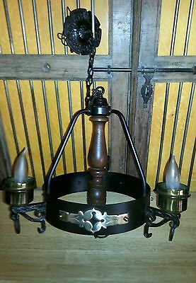 Antique 1930's Church Chandelier Light* LA Catholic Church* Iron and Brass