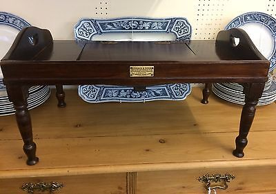 RARE LEVESON & SONS of LONDON VICTORIAN ANTIQUE MAHOGANY CAMPAIGN READING TRAY
