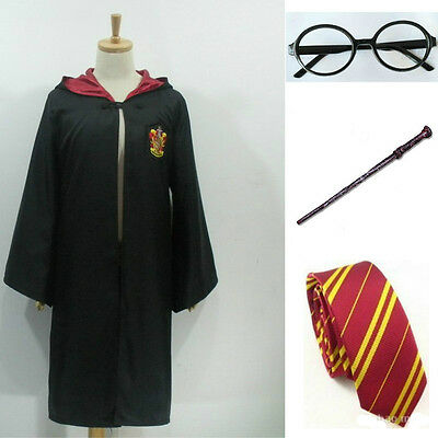 Adult & Children Harry Potter Hogwarts Tie Glasses Wand Cape Cloak Robe Costum
