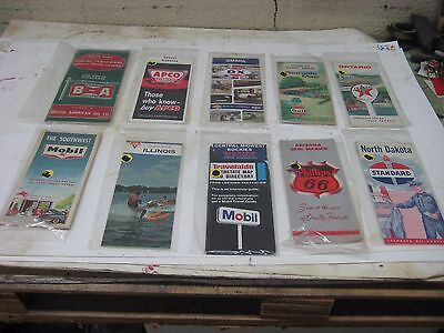 Vintage Gas & Oil Service Station Lot of 10 US/Canada Road Maps