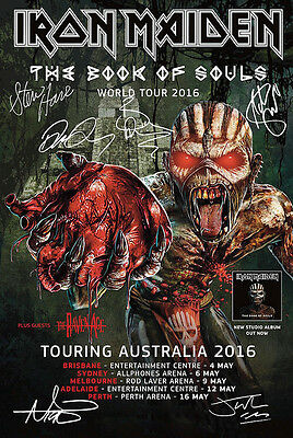 Iron Maiden World Tour 2016 Autographed  Signed  Poster Print