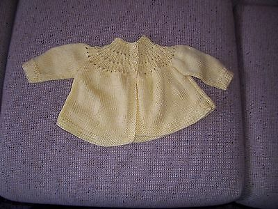 New Handknitted Baby Jacket/  Cardigan Deep Yellow 0-3 Months Approx