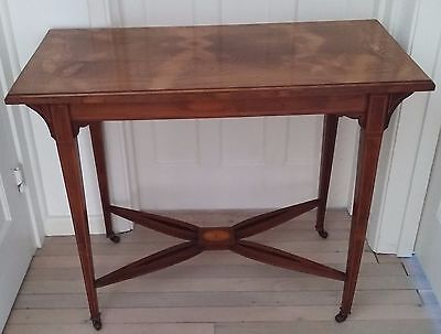 Beautiful Inlaid Edwardian Mahogany Sheraton Table Desk Side. Good Condition.