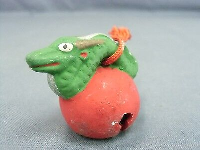 DR108 Japanese Clay Bell Hand Painted Ceramic Lucky Charm ZodiacVtg Dorei