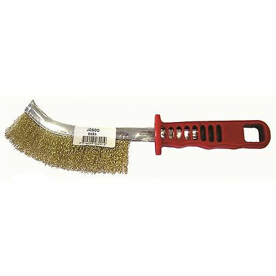 Josco SCRATCH BRUSH Brass Coated Steel Bristles, RED HANDLE *Australian Brand