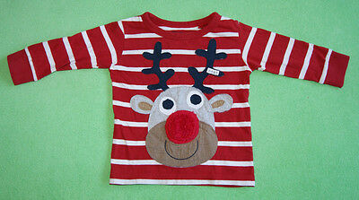 Next christmas red top jumper with reindeer for boy or girl 9-12 months 80cm