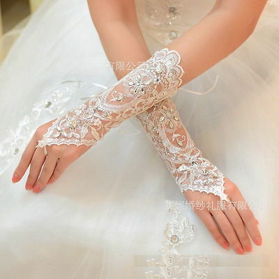 Crystal lace Bridal glove Wedding from Party Costume Long Gloves Fingerless UP