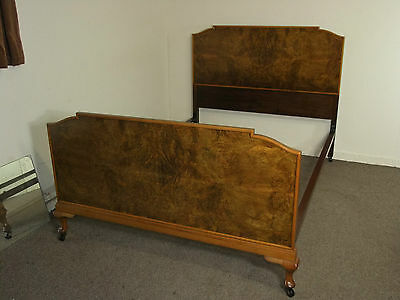 Vintage Art Deco Burr Walnut Double Bed Frame Free Delivery In 100 Mls Of Perth
